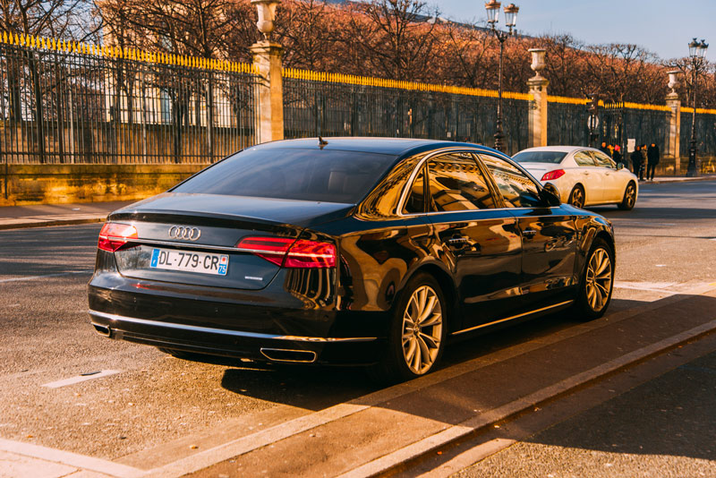 Audi A8 parked at Rue de Rivoli